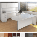 U Shaped Interior Curve Desk with Modesty