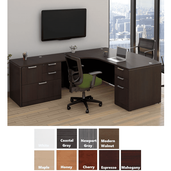 Bow Front Desk with Combo File