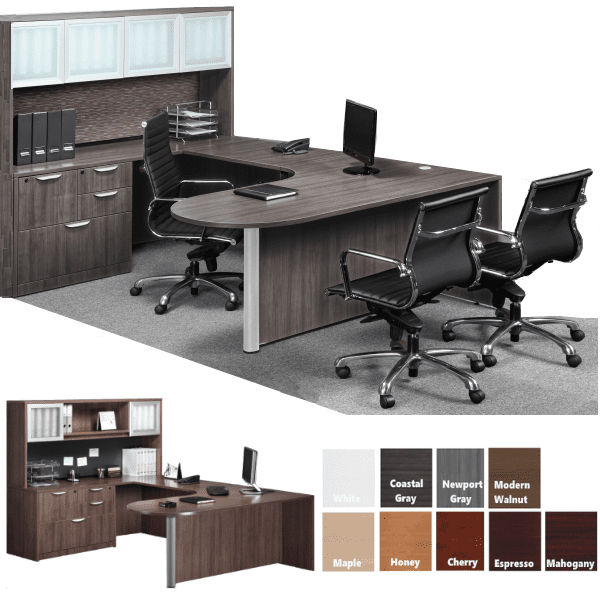 Bullet U Desk with Frosted Glass Door Hutch and Multi Drawer Credenza Storage