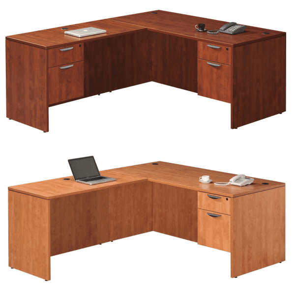 L-Shape Desks with 2-Drawer Storage