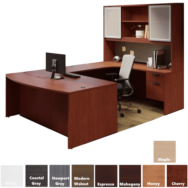 U desk with tall hutch