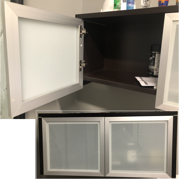 Wall Mount Storage Hutch with Frosted Glass Doors
