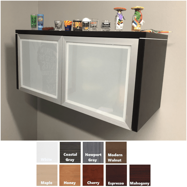 PL Wall Mount 2-Door Hutch - Frosted Glass Doors - Office Source