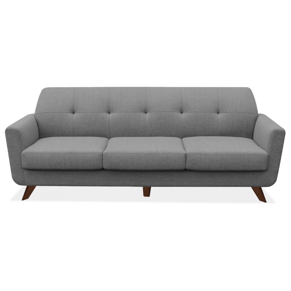 3 Seat Sofa Gray Linen Fabric