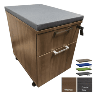 Mobile 2-Drawer Box File Storage Pedestal with 2 Inch Pedestal Cushion