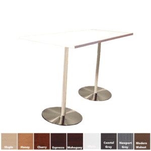 Office Source Rectangular Cafe Height Table - Brushed Silver Bases