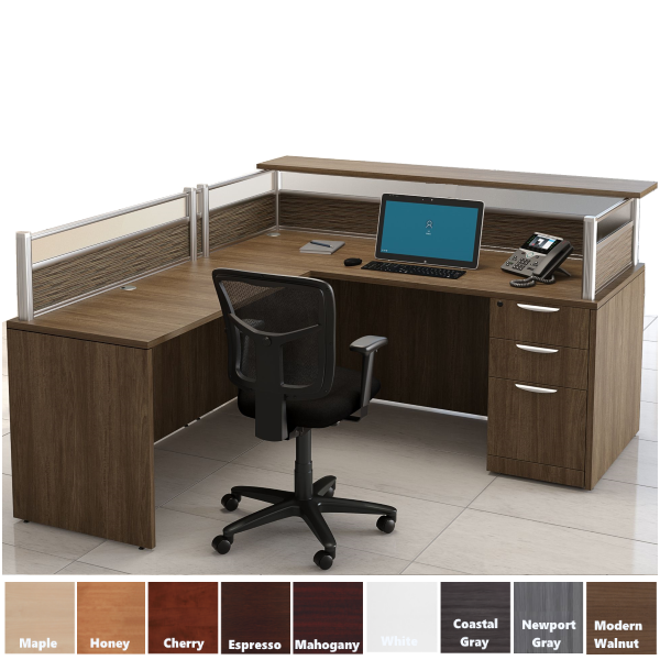 Borders Reception L-Desk Modern Walnut - Left Return