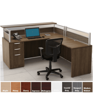 Borders Reception L-Desk Modern Walnut - Right Hand Return