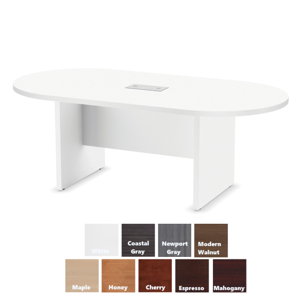 """135 71""""W Oval Conference Table - White Finish - PL135"""