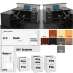 PL102 PL145 PL196 Desk & Return with Acrylic and Transaction Top