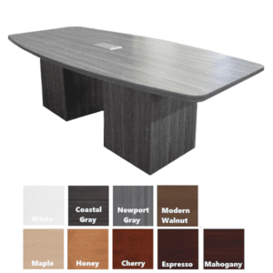 Cube Base Conference Table with Boat Shaped top
