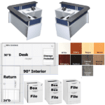 Performance Office Source Reception L-Desk with Curved Transaction Counter - 9 Colors