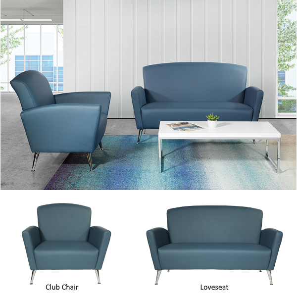 Dillon Blue Vinyl Reception Seating
