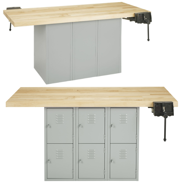 Educational Two Person Work Bench Table with 1 or 2 Attaching Vises