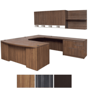 Executive U Shaped Desk & Wall Hutch Set