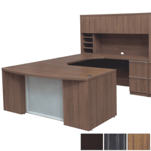 Bow Front Glass Front U-Desk & Door Hutch