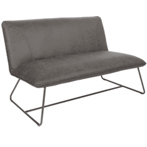 Minimalist Two Seat Loveseat in Gray Vinyl Material