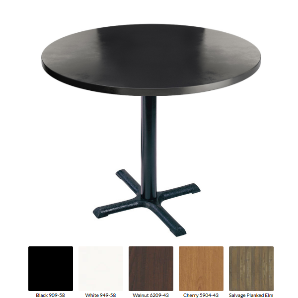 Quick Ship Formica Small Round Table 3 Sizes Crisscross Steel Base