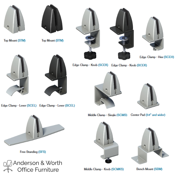 Steel Mounting Hardware Options for Dividers