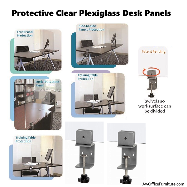 Adjustable Desk Mounting Clear Panels