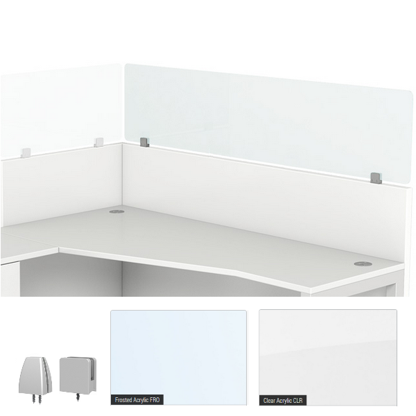 Stackers Clear or Frosted Acrylic Cubicle Height Extender Privacy Panel - 2 Mounting Brackets - 36 48 54 W in 5 Heights