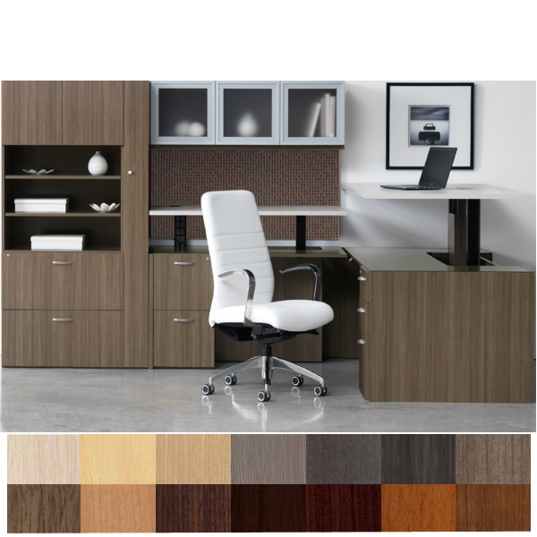 Canvas Height Adjustable L-Shaped Desk with Fabric Tackboard with Wall Hutch & Wardrobe Filing Storage Tower