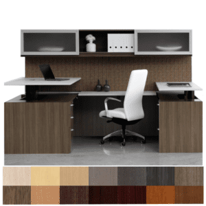 Indiana Canvas Dual Height Adjustable U Shape Desk Configuration