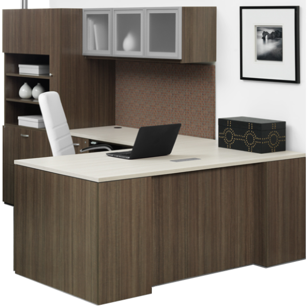 Canvas Left Handed L-Shaped Desk with Wall Mount Glass Hutch - Left Handed Return