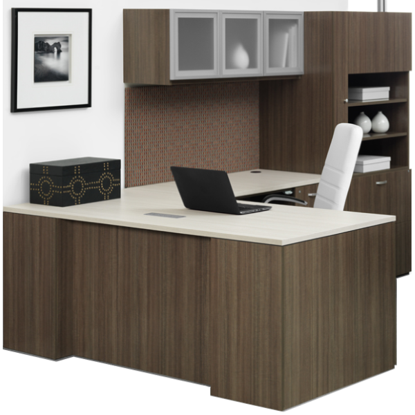 Canvas Right Handed L-Shaped Desk with Wall Mount Glass Door Hutch
