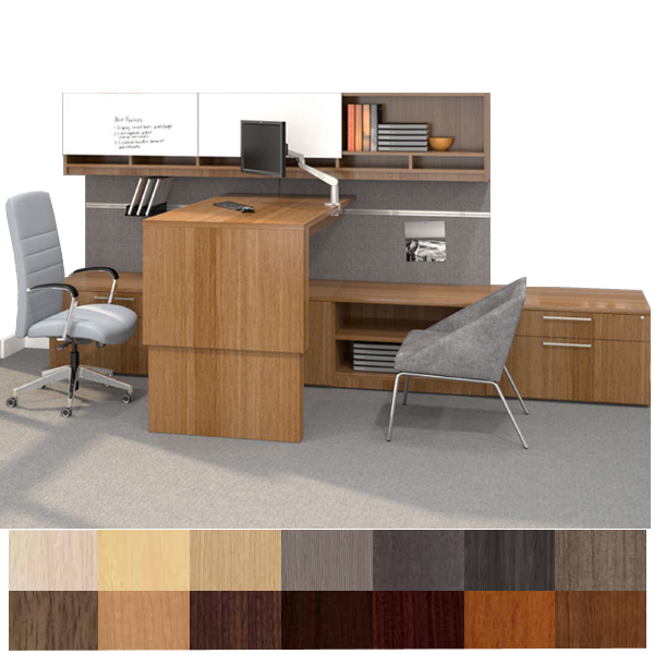 Height Adjustable Desk & Credenza - Large Low Storage Bench with Workwall - AW Office Furniture