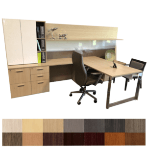 Canvas Modular Executive Desk Suite with Tackboard & Dry Erase Board - CabinetsWork Wall