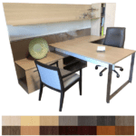 Canvas Modular Executive Desk Suite with Tackboard & Dry Erase Board Work Wall