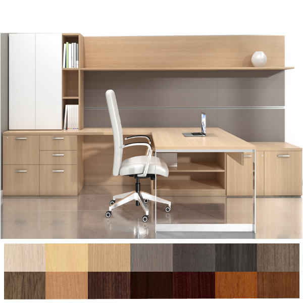 Canvas Open Leg Executive Workstation with Work Wall & Storage Tower - Left Handed Return