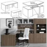 Indiana Canvas Dual Electric Height Adjustable Desk and Return