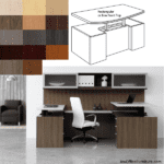 Indiana Canvas Dual Power Height Adjustable U Shaped Desk with Credenza