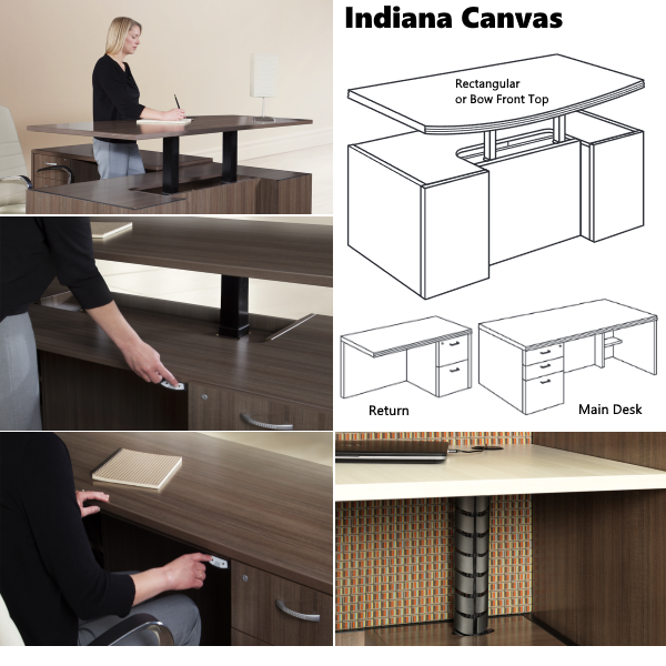 Indiana Canvas Height Adjustable Desk Casing Design - AW Office Furniture