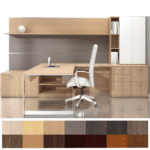 Indiana Furniture - Canvas Open Leg Executive Workstation with Work Wall & Storage Tower