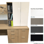 Indiana Furniture Canvas Lateral File Base with Upper High Gloss Acrylic Storage Cabinet