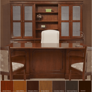 Indiana Executive Desk Credenza and Glass Hutch