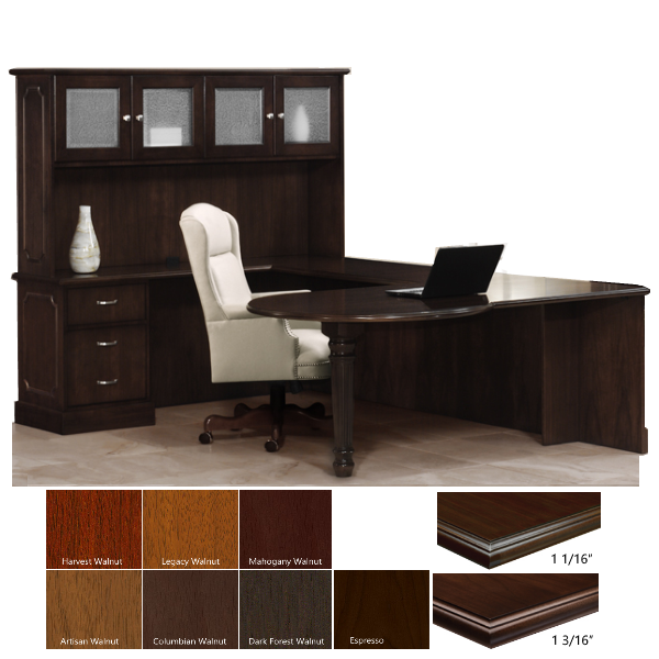 Left Handed P Top U-Desk with Hutch