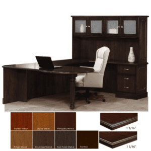 Indiana P Shaped Top U-Desk with Cracked Ice Frosted Glass Doors
