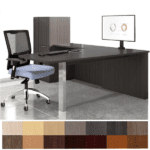 Canvas Aluminum or Chrome Post Leg L-Shaped Desk with File Storage Cabinet - Left Handed Model