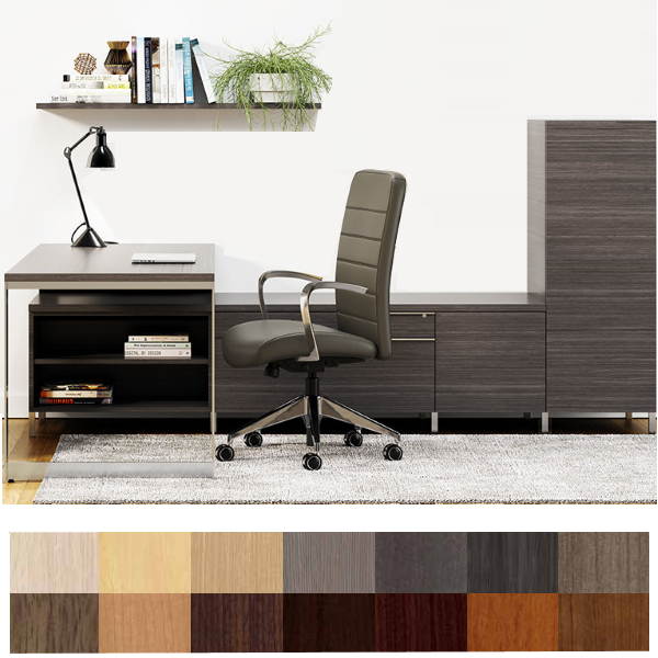 Canvas Studio L Shape Desk with Low Bench Storage Wall