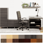 Studio L Desk Wall with Storage Benching - Contemporary Office Furniture