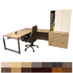 Canvas Right Handed L-Shaped Executive Desk with Large File Bank and Optional Upper Cabinet Doors