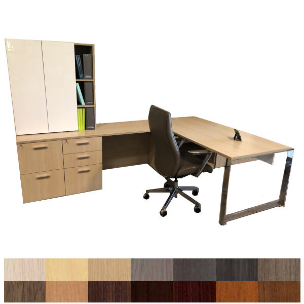 Indiana Canvas Left Handed Executive L-Shaped Desk with Combo File & Optional Acrylic Door Hutch