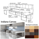 Indiana Canvas 15 Feet Two Person Workstation - Low Bench Storage with Storage Hutch Wall Set