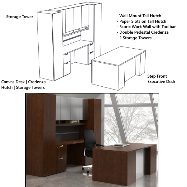 Indiana Canvas Step Front Executive Desk with Credenza & Wall Hutch