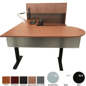 Bullet Shape Executive Height Adjustable Desk & Hutch