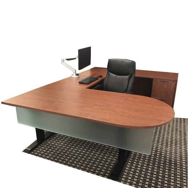 Nexus or Ultra Series TiMotion 2-Stage Height Adjustable U-Shaped Desk Set